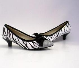 Hand painted flats shoes Glittering Zebra