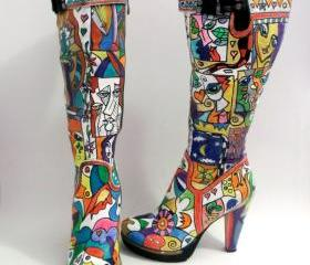 SOLD - Hand painted knee high boots Be a pop-art icon