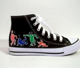 Hand Painted Sneakers - Dancing people