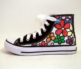 Hand Painted Sneakers - Big flowers