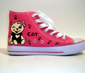 Hand Painted Sneakers - Cat dream